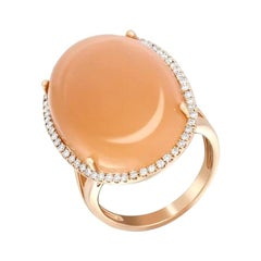 Fancy Impressive Natural Moonstone Diamond Rose Gold Diamond Ring for Her