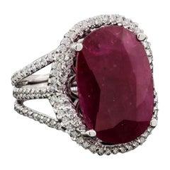 Fancy Impressive Natural Ruby Diamond White Gold Diamond Ring for Her