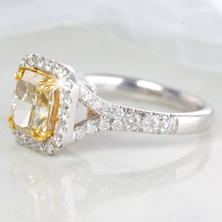 Radiant Cut Fancy Intense Brownish Yellow 1.89 Carat Radiant Diamond Engagement Ring For Sale