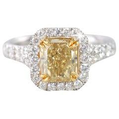 Fancy Intense Brownish Yellow 1.89 Carat Radiant Diamond Engagement Ring