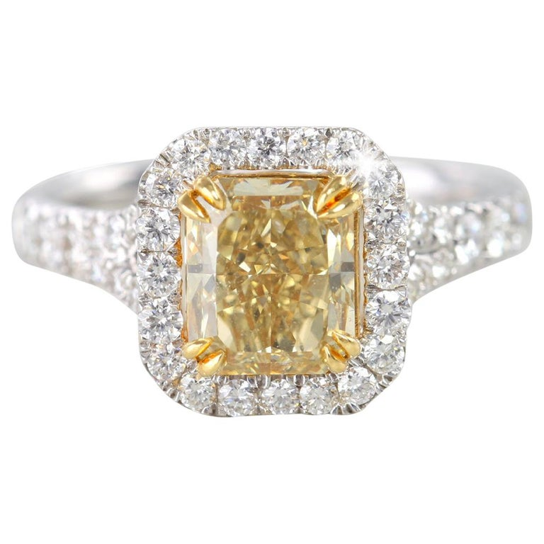 Fancy Intense Brownish Yellow 1.89 Carat Radiant Diamond Engagement Ring For Sale