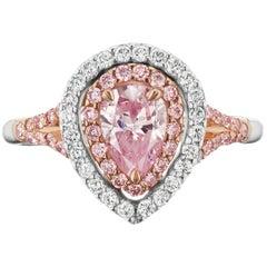 Fancy Intense Purple-Pink .81ct Pear Diamond GIA Cert. Halo Ring