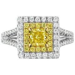 Fancy Intense Yellow .60ct Princess GIA Diamond Plat & 18kt. Halo
