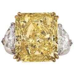 Fancy Intense Yellow Diamond 14.24 CT, GIA-FIY-VS1, Platinum/ YG Diamond Ring