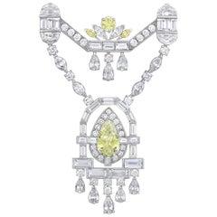 Fancy Intense Yellow Diamond Brooch by Raymond Yard