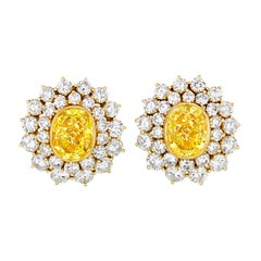 Fancy Intense Yellow Diamond Convertible Earrings, 11.36 Carat