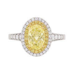 Fancy Intense Yellow Diamond Double Halo Ring