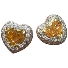 Fancy Intense Yellow Diamond Heart and Diamond Round Platinum Stud Earrings