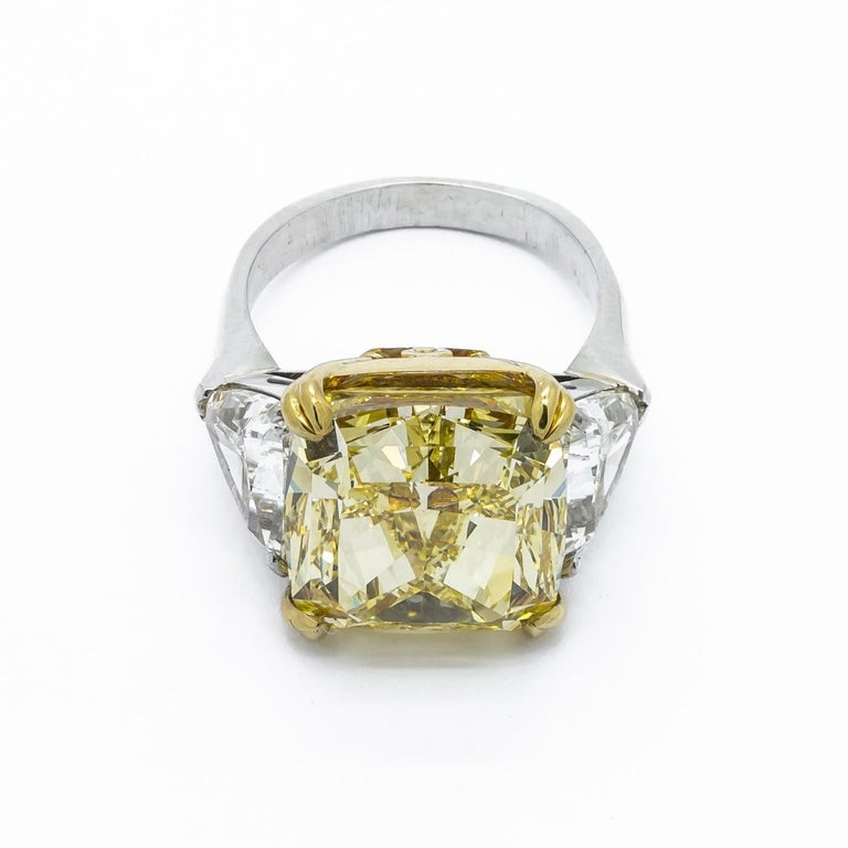 Cushion Cut Fancy Intense Yellow Diamond Ring, Platinum and Gold, 14.51 Carats For Sale