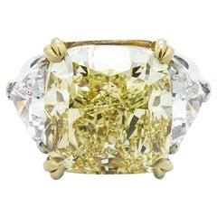 Fancy Intense Yellow Diamond Ring, Platinum and Gold, 14.51 Carats