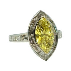 Fancy Intense Yellow GIA Certified Diamond Ring