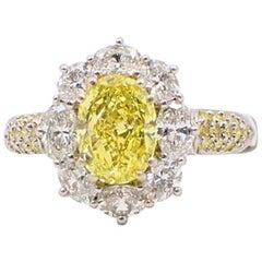 Fancy Intense Yellow Oval 3.69 TCW Diamond Engagement Ring Halo & Diamond Band