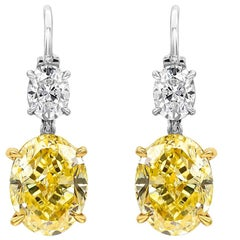 Fancy Intense Yellow Oval Cut Diamond Drop Earrings