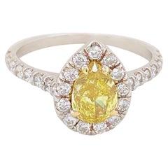 Fancy Intense Yellow Pear Shape Diamond Halo Ring 1.60 Carat 14 Karat GIA