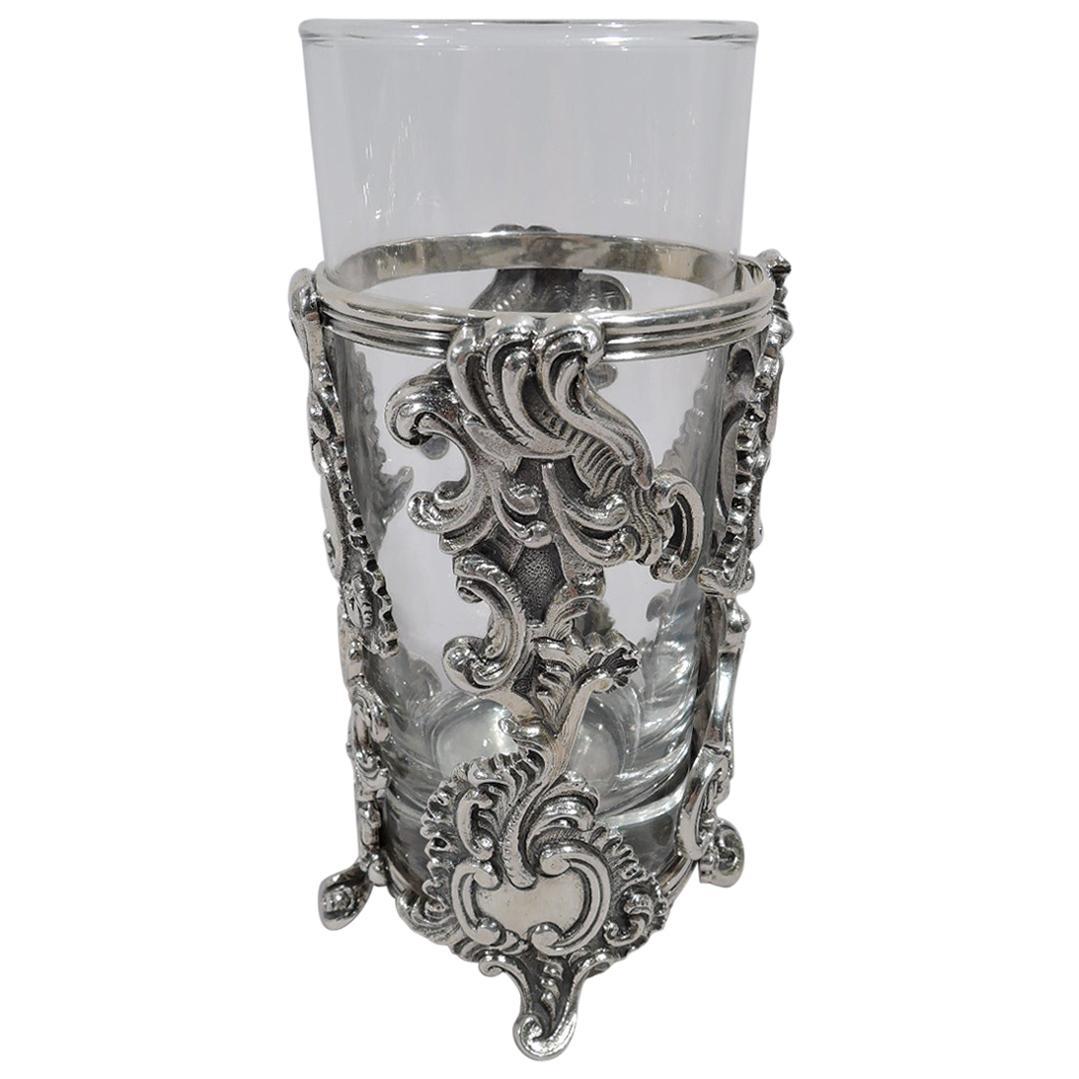 Barware Bar Highball Tumbler Italian Sterling Silver Buccellati Glass Holder
