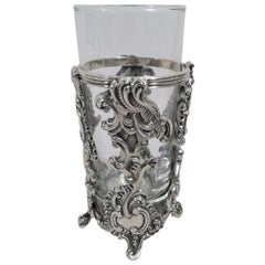 Fancy Italian Rococo Sterling Silver Highball Holder by Buccellati