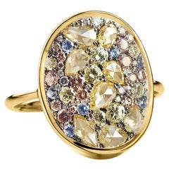 Fancy Lemon Yellow, Pink, Blue, Yellow, No Heat Blue Sapphire Pave Cocktail Ring