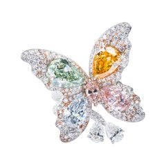 Vihari Jewels Fancy Light Blue, Green, Pink, and Orange Diamond Butterfly Ring