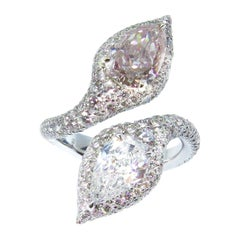 Fancy Light Brownish Pink and D Flawless Pear Shape Toi et Moi Ring