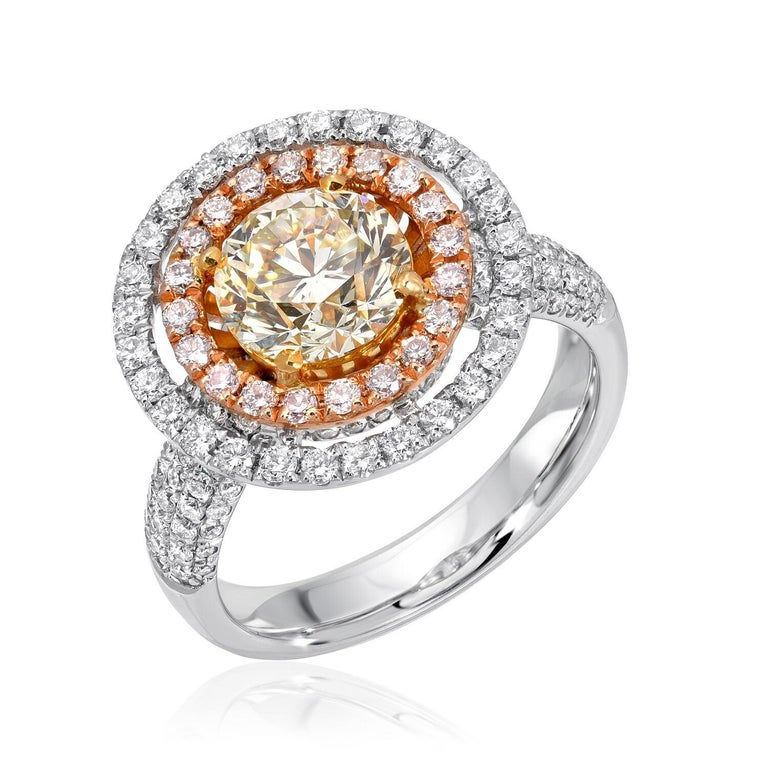 Contemporary Yellow Diamond Ring GIA Certified 1.63 Carats For Sale