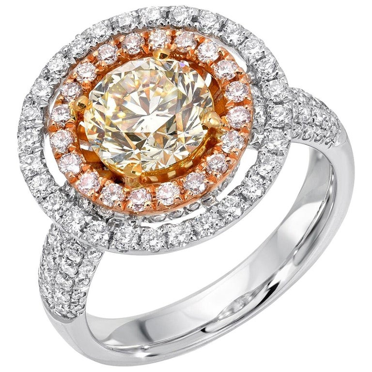 Yellow Diamond Ring GIA Certified 1.63 Carats For Sale