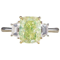Fancy Light Green 2.40ct Diamond Three-Stone Ring in 18ct White and Rose Gold