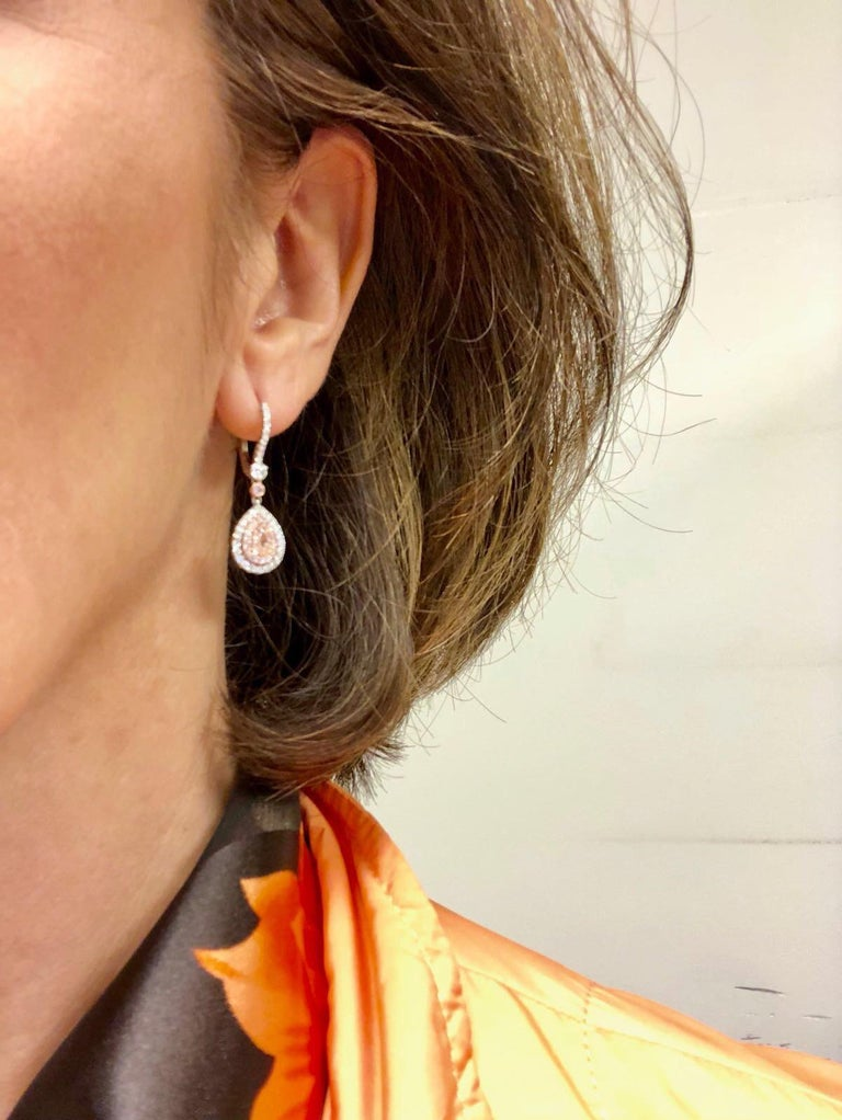 Modern Pink Diamond Earrings Pear Shapes 0.53 Carats  For Sale
