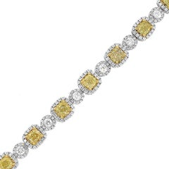 Fancy Light Yellow Cushion Cut Diamond Tennis Bracelet