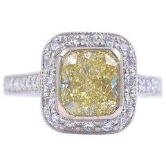 Fancy Light Yellow Cushion Diamond 2.01 Carat Halo Engagement Ring GIA Platinum