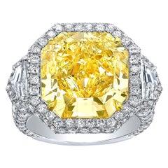 Fancy Light Yellow Diamond Ring 10.43 Carat Radiant Cut