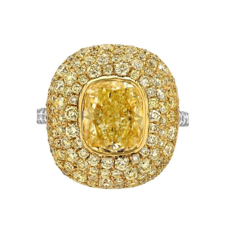 Women's Fancy Light Yellow Diamond Ring 3.01 Carat Cushion Cut GIA Certified For Sale