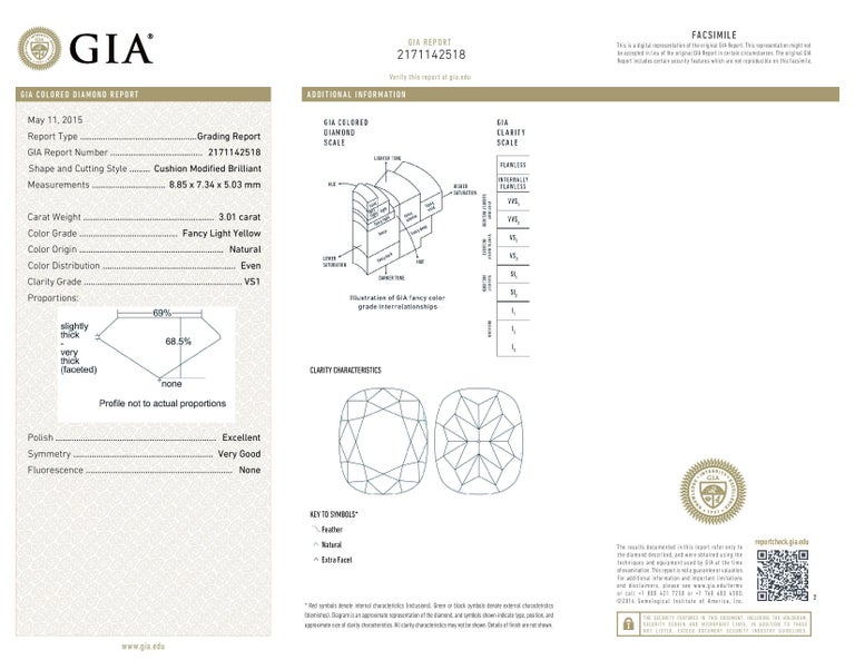 Contemporary Fancy Light Yellow Diamond Ring 3.01 Carat Cushion Cut GIA Certified For Sale