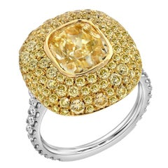 Fancy Light Yellow Diamond Ring 3.01 Carat Cushion Cut GIA Certified