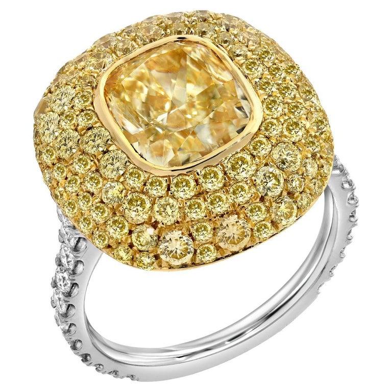 Fancy Light Yellow Diamond Ring 3.01 Carat Cushion Cut GIA Certified For Sale