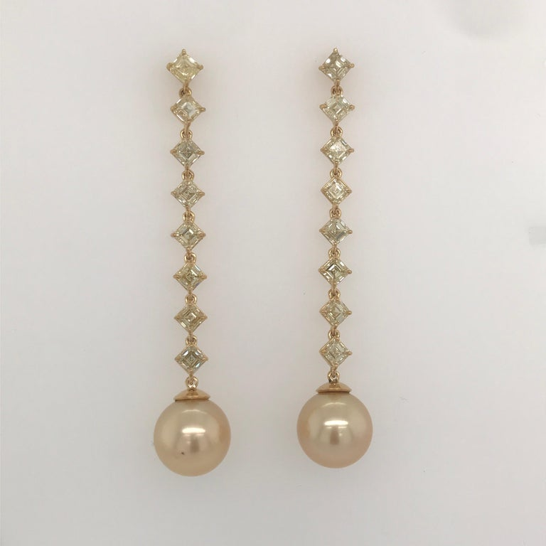 Contemporary Fancy Light Yellow Diamond South Sea Drop Earrings 6.14 Carat VVS2-VS1 22 Karat For Sale
