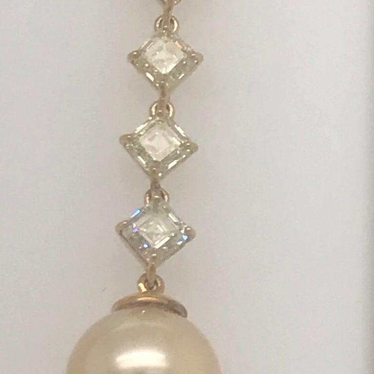 Asscher Cut Fancy Light Yellow Diamond South Sea Drop Earrings 6.14 Carat VVS2-VS1 22 Karat For Sale