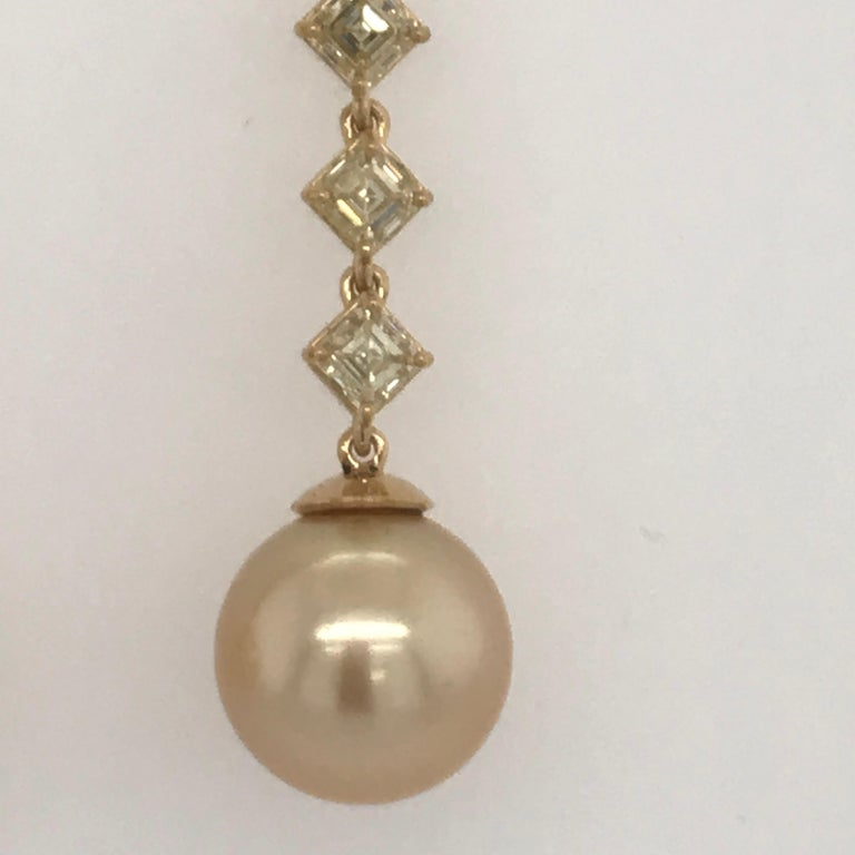 Fancy Light Yellow Diamond South Sea Drop Earrings 6.14 Carat VVS2-VS1 22 Karat In New Condition For Sale In New York, NY