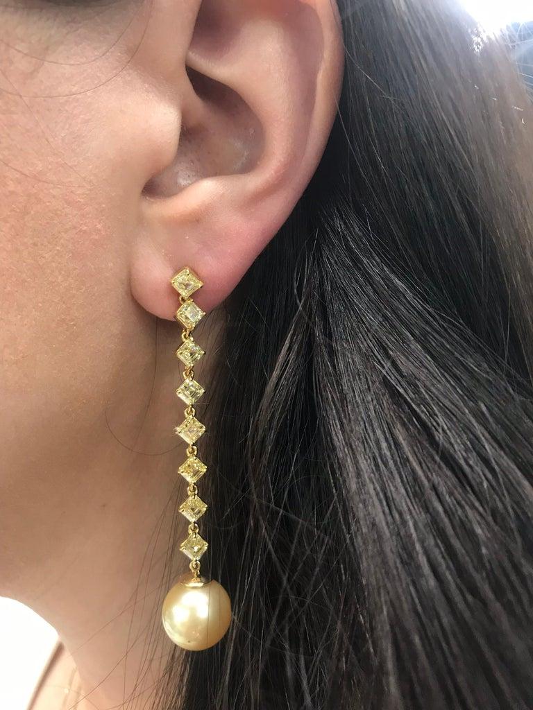 Fancy Light Yellow Diamond South Sea Drop Earrings 6.14 Carat VVS2-VS1 22 Karat For Sale 1