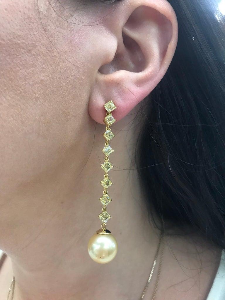 Fancy Light Yellow Diamond South Sea Drop Earrings 6.14 Carat VVS2-VS1 22 Karat For Sale 3