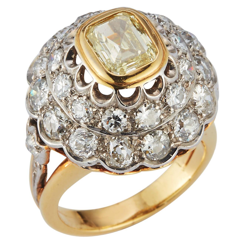 Fancy Light Yellow Emerald Cut & Diamond Ring