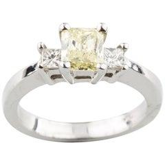 Fancy Light Yellow Radiant Cut 14 Karat White Gold 1.01 Carat Engagement Ring