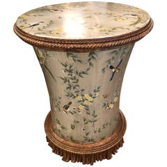 Fancy Lillian August Silver Leaf Side Table Adorned with Flowers and Birds
