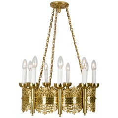 Fancy Lobmeyr-Restored Medieval-Style Cast Brass Cart-Wheel Chandelier