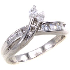 Fancy Marquis and Baguette Diamond Platinum Ring