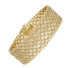 Fancy Mesh Chain Bracelet, 18 Karat Yellow Gold Box Clasp