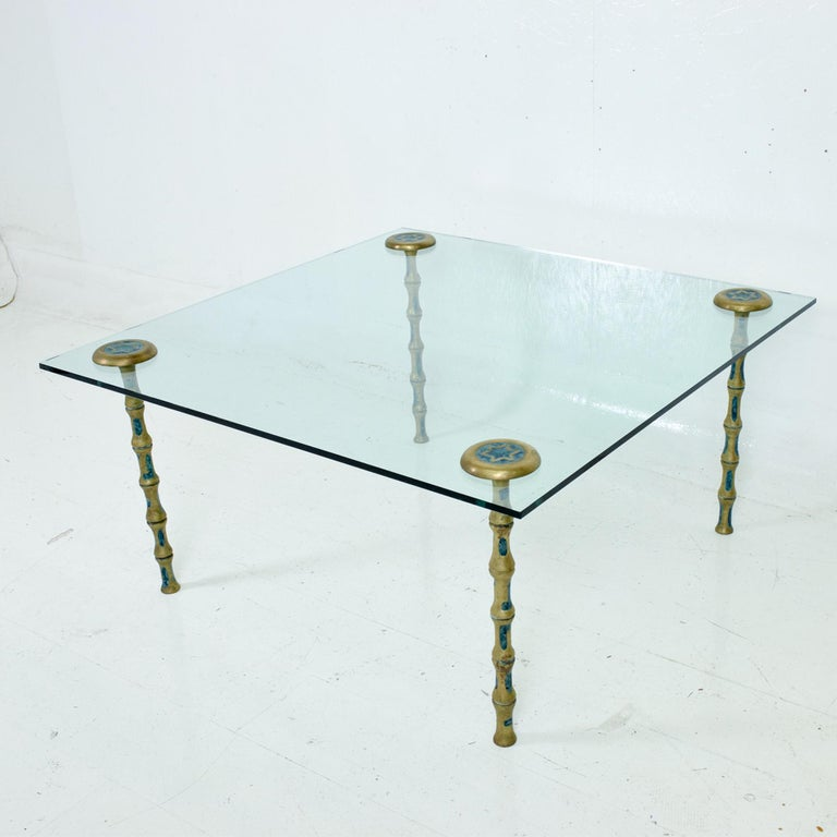 Fancy Mexican Modernism Four Malachite & Brass Table Legs Pepe Mendoza 1950s For Sale 5