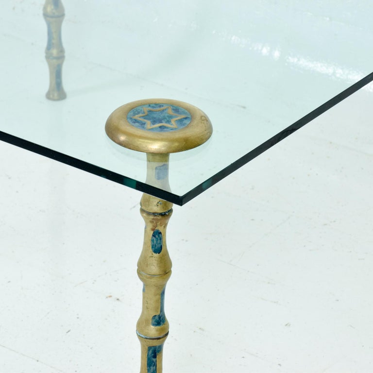 Mid-Century Modern Fancy Mexican Modernism Four Malachite & Brass Table Legs Pepe Mendoza 1950s For Sale