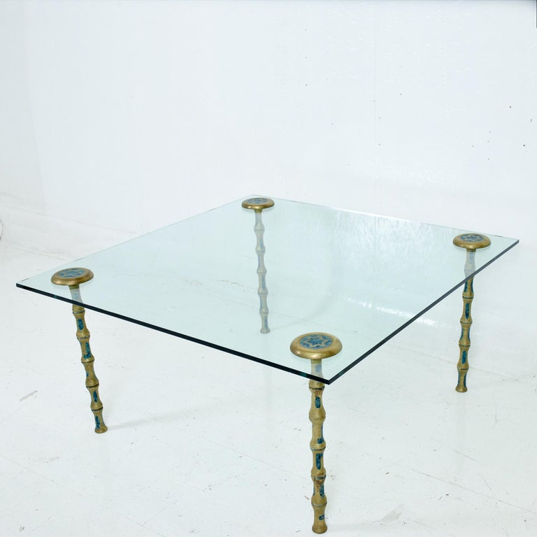 Mid-20th Century Fancy Mexican Modernism Four Malachite & Brass Table Legs Pepe Mendoza 1950s For Sale