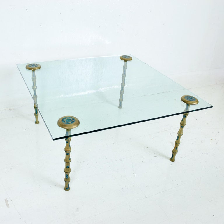 Fancy Mexican Modernism Four Malachite & Brass Table Legs Pepe Mendoza 1950s For Sale 4