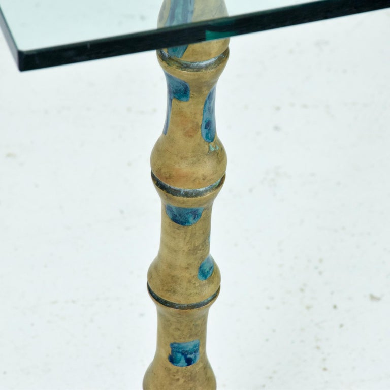 Fancy Mexican Modernism Four Malachite & Brass Table Legs Pepe Mendoza 1950s For Sale 2